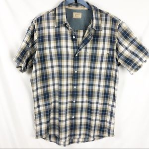 Arrow Blue/Tan Plaid Button Down Short Sleeve